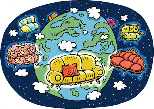 World in couch