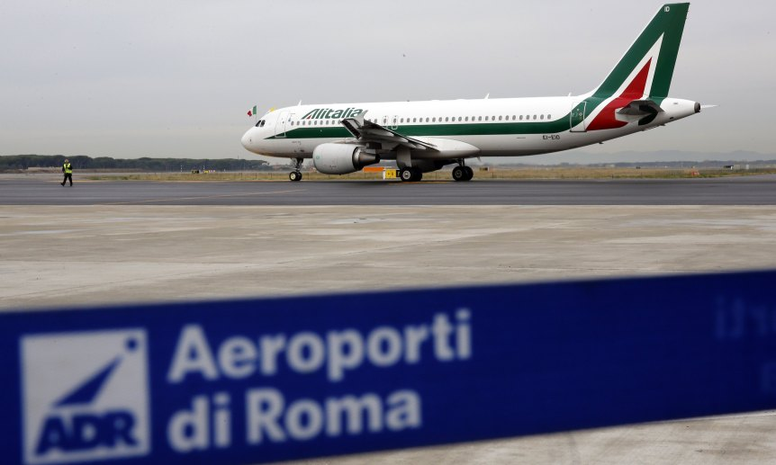 A plane carrying Pope Francis leaves the Fiumicino airport in Rome